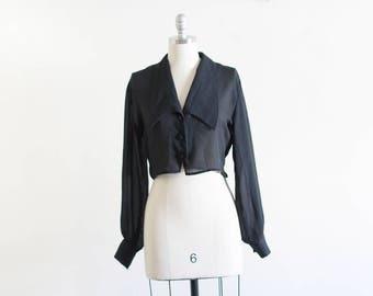 Vintage Sheer Cropped Black Blouse / Loose Blouse