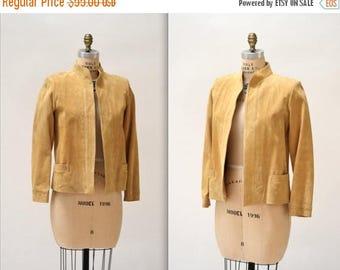 SALE Vintage Suede Leather Jacket in Camel Tan Brown Medium// Vintage Leather Jacket Blazer Size Medium