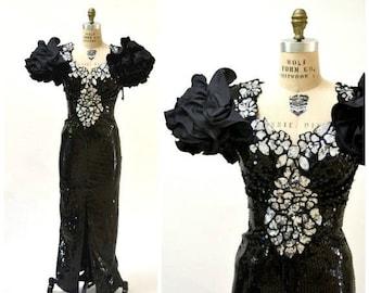 SALE 80s Vintage Black Prom Dress Sequin Dress Evening Gown 80s Small Medium// 80s Pageant Dress Black Sequins Fringe Drag Queen Alyce Desig