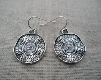 Silver Dangle Drop Earrings - Boho Chic - Moroccan - Wavy Disc Silver Earrings - Simple Everyday Earrings