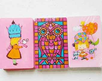 70s Playing Card Decks, Vintage Pink Card Decks, Kitsch SWAP Cards, Playing Cards Trio, Pink Retro Playing Cards,Deck of Cards,  SwirlingO11