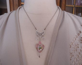 Artisan Handmade Sterling Silver and Swarovski Crystal Necklace w/ Lamp Work Glass Heart Pendant