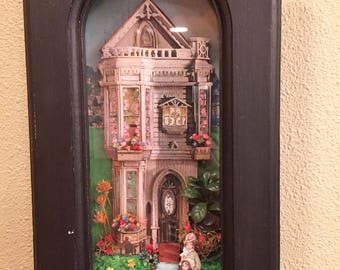 Vintage 3-D Shadow Box Victorian Scene Diorama Wood Paper Glass Showcase