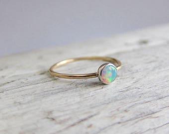 Gold opal ring, gemstone ring, tiny ring band, birthstone ring, dainty stacking ring.