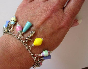 Paper bead bracelet - paper bead jewelry - first anniversary gift - ladies bracelet - paper jewelry