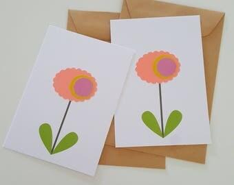 2 bloemenkaartjes zalmroze
