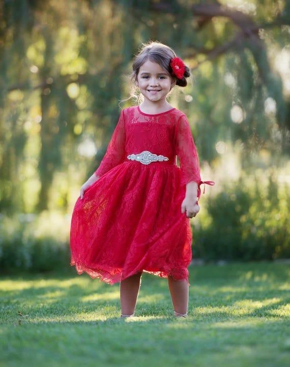 Red Flower girl dress Girls Christmas dress Red lace flower