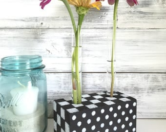 Test Tube flower vase, Bud vase, small vase, black and white polka dots and checks, Farmhouse decor, unique gift, made in Ohio