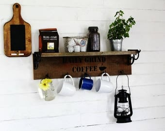 Coffee Station Mug Rack - Farmhouse Style Reclaimed Wood Kitchen Storage Decor