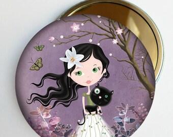 """Miroir de poche """"La fille au chat noir"""" bleu, violet ou gris, accessoire fille, miroir de sac"""