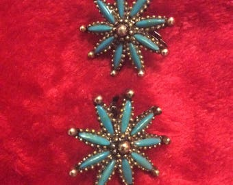 Turquoise clip earrings vtg Silvertone no flaws