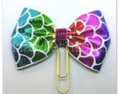 Planner clip, bookmark, planner bow clip, bow bookmark, mermaid scales, pink, blue, green, sparkles