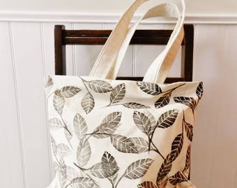 Summer Market Tote Bag. Beach Tote. Large Purse or Diaper Bag. Hand Printed Canvas Tote. Botanical Print Reusable bag. Gift for Teacher.