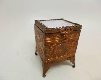 Antique Brass Trinket Box - Glass Trinket Casket - Jewelry Trinket Box - Slag Glass Trinket Box - Dresser Box - Vanity - Gold Gilt  - Ormolu