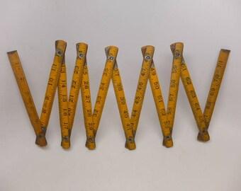 Vintage Wooden Folding Ruler 72 inch  - Patent 1933 Ruler - Vintage Wood Folding  Ruler - Vintage Tool - Vintage Ruler