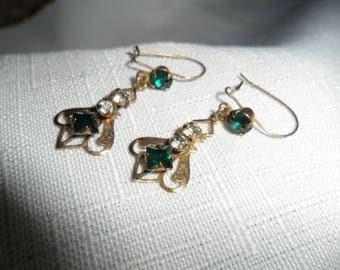 Vintage Gold Tone Green Rhinestone Pierced Earrings