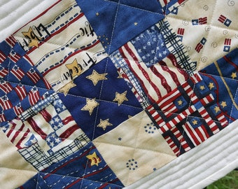 Quilted July 4th or Americana Table Runner Extra Long and Narrow - Perfect for Picnic Table, Great Patriotic Home Decor Accessory