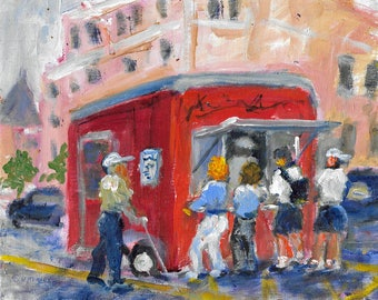 Original acrylic cityscape painting 8x10 city scene cars red food truck Morristown, NJ