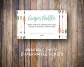 Tribal Diaper Raffle Ticket, Arrows, Baby Shower Diaper Raffle, Diaper Raffle Tickets, Raffle Ticket Insert Cards, Digital Download, 810