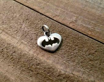 Batman Charm DC Comics Charm Batman Heart Super Hero Charm Batman Symbol Silver Charm Licensed Charm