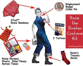 """Rosie the Riveter Cosplay Special! Holiday Savings of 20% on ROSIE the RIVETER Costume Kit - """"You Can Do It!"""" Must Have Accessories-RtR-25"""