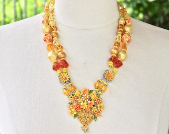 Vintage Enamel Flower Statement Necklace, Vintage, Reclaimed Upcycled Antique Brooch Collage Yellow Orange Double Strand Jennifer Jones OOAK