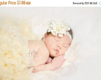 12% off Baby headband, newborn headband, adult headband, child headband and photography prop The single sprinkled- Eyelet lace flower headba