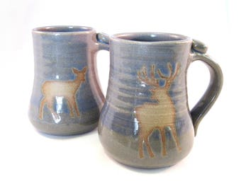 Deer Coffee Mug - Tea Cup - Buck and Doe - Wild Animal Silhouette - Deer - Handmade Pottery - Pottersong - Stormy Blue - Grey Mugs