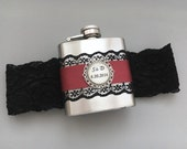 FLASK GARTER, Wedding Garter with Personalized Flask, Black & Burgundy Red, Custom Flask with Bridal Garter, Wedding Garter, Lace Garter