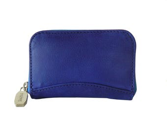 Prune Argentina Blue Leather Zip Around Card Holder Wallet