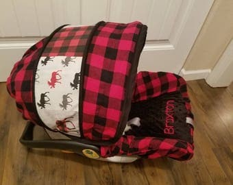 Baby car seat cover, moose infant seat cover, lumberjack cover with moose accents- custom order always comes with free strap covers