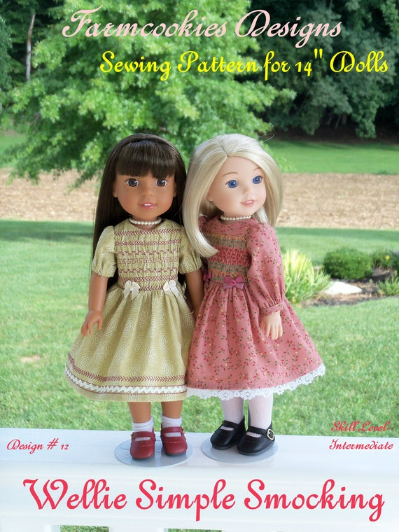 "Wellie Wisher® PDF Sewing Pattern: Wellie SIMPLE SMOCKING /Pattern for 14"" American Girl  Wellie Wishers®"