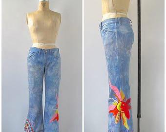 Vintage 70s Levi's for Gals Jeans | Big 'E' | Stone Wash Art Jeans | Celestial Themed Patchwork and Embroidery | Hippie, Boho | Waist 30""
