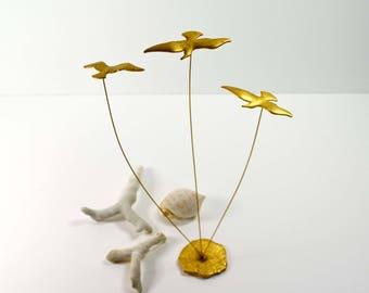 Vintage Mid Century Kinetic Seagull Sculpture MCM Birds 1970s