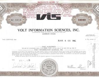 Vintage Volt Information Sciences (VIS) Original Common Stock Certificate 100 Shares (brown), 1970's,