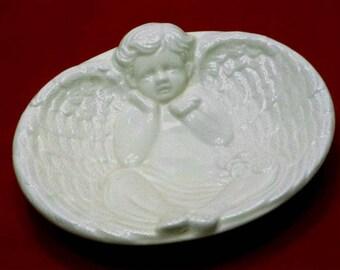 Vintage Angel Soap Dish Trinket Dish, 1980s