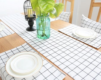 Table Runner Cotton linen Check Plaid Tartan Dining,Coffee,Party,Wedding,Birthday,Gift,Table Overlay-Shabby Chic,Rustic,Custom,GET FREE GIFT