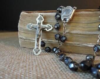 Vintage Lourdes Bead Rosary / Lourdes Holy Water Crucifix / Eau de Lourdes / Italian Rosary / St. Bernadette Virgin Mary