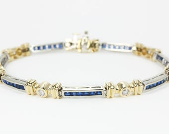 2.05tcw 14K Sapphire Bracelet, Gold Sapphire Bracelet, Sapphire Tennis Bracelet, Sapphire & Diamond Bracelet, Two Toned Sapphire Bracelet