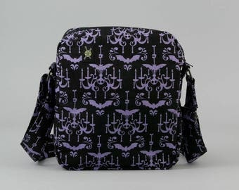 Bats on a Haunted Halloween Chandelier Small Crossbody Bag, Purple and Black, Zipper Closure, Fabric Crossbody with Pockets