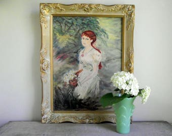 Vintage Portrait Painting , Framed Oil Painting , Portrait of a Girl , Ornate Vintage Frame , Cottage Chic Decor , Original Framed Painting