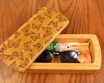 Wooden Storage Box, Butterflies, Bird Patterned 8-1/2