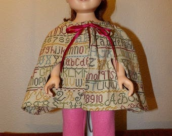 Cape coat in Flannel printed with colorful numbers & letters for 18 inch dolls - ag323