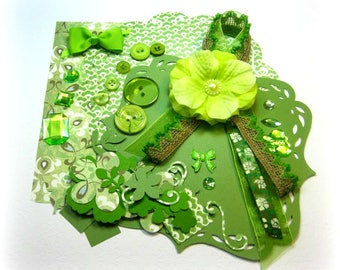 Green Inspiration Kit, Embellishment Kit, Light Green Assortment of Embellishments for Scrapbook Layouts Cards Mini Albums Paper crafts