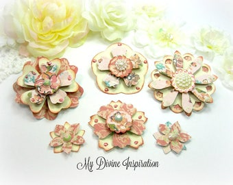 Basic Grey Lucille Peach Salmon and Beige Paper Embellishments and Paper Flowers for Scrapbook Layouts Cards Mini Albums and Paper Crafts
