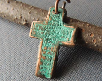 Copper Cross, Green Patina, Antique Cross, Replica Cross, Celtic Cross, Verdigris, 16 Gauge Jump Ring, Jewelry For Him, Jewelry For Her