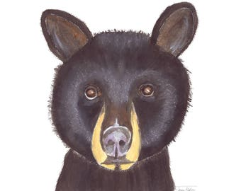 Black bear art print, wild animal face mugshot picture, illustration, watercolor painting art, woodland forest creature, wildlife outdoors