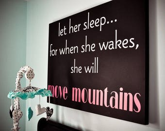 Let her sleep... CANVAS- children  Vinyl Lettering wall  art words graphics  decals   Home decor itswritteninvinyl