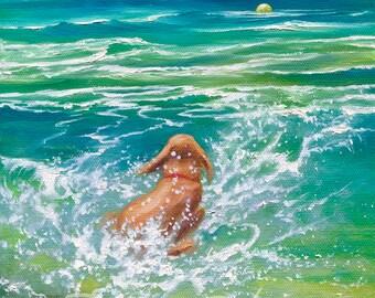 Dog Playing in Water, Dog Splashing, Dog Jumping, Dog Chasing Tennis Ball Signed Art Print