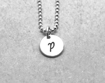 Initial Necklace, Sterling Silver, Letter P Necklace, Personalized Jewelry, Mother's Necklace, Hand Stamped Jewelry, All Letters Available